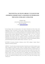 the potential of online library catalogues for supporting opportunistic ...