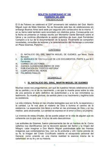 Bol Nº 106, Feb 09 - Martin Miguel de Guemes