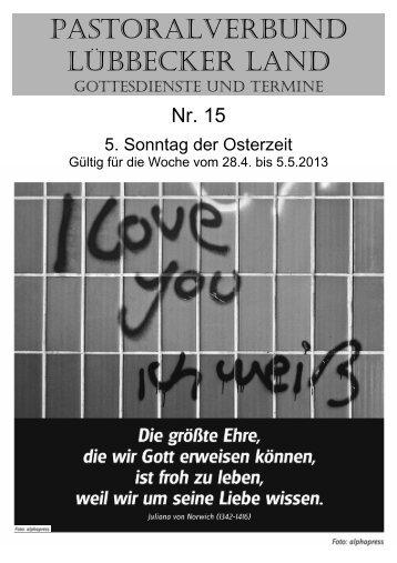 Nr 15 - 5. Sonntag der Osterzeit - Pastoralverbund - Lübbecker Land