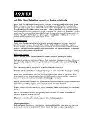 Job Title: Retail Sales Representative – Southern ... - Jones Soda