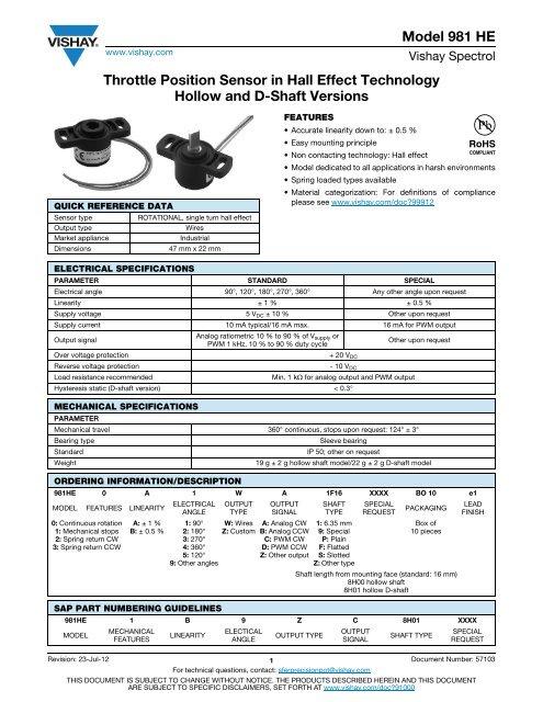 Model 981 HE Throttle Position Sensor in Hall Effect