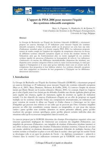 Baye, A. L'apport de PISA 2006 pour mesurer l'équité des systèmes ...