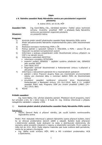 9 th meeting of the Council - Centrum pro výzkum toxických látek v ...