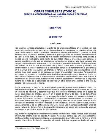 Obras completas III - Rafael Barrett - del Kolectivo Conciencia ...