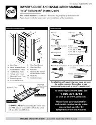 OWNER'S GUIDE AND INSTALLATION MANUAL Pella ... - Pella.com