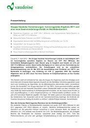Gruppe Vaudoise Versicherungen: hervorragendes Ergebnis 2011 ...