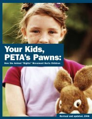 """""""Your Kids, PETA's Pawns"""" report - Center for Consumer Freedom"""