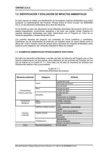 Cap 7 EIA PEC.Chocan - Impactos ambientales - Ministerio de ...