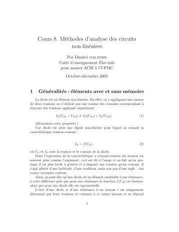 Analyse de circuits non-linéaires - SoC