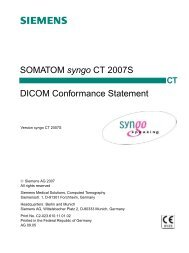 SOMATOM syngo CT 2007S DICOM Conformance Statement