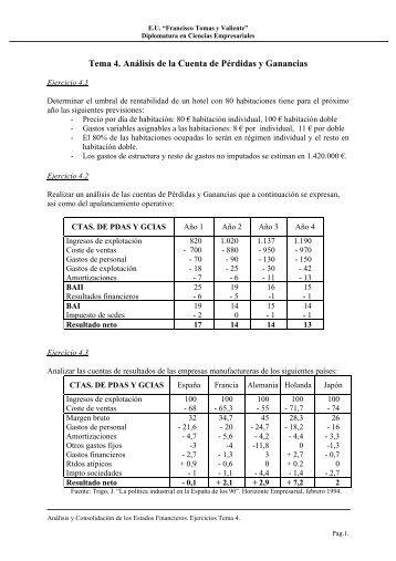 Tema 4. Análisis de la Cuenta de Pérdidas y Ganancias