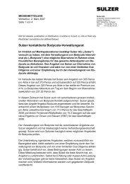 Sulzer kontaktierte Bodycote-Verwaltungsrat
