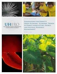 FOUNdATIONS FOR HAwAI'I'S GREEN ECONOMy ... - UHERO