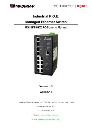 Industrial P.O.E. Managed Ethernet Switch - Meridian Technologies