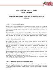 Lire le réglement intérieur de la Polynésie française - Planète Urgence