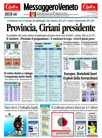 Gli eurodeputati eletti - Provincia di Pordenone
