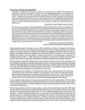 Henry Brant: Verticals Ascending (1967) - Williams Students Online