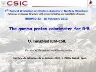 O. Tengblad IEM-‐CSIC The gamma proton calorimeter for R3B