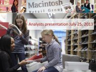 Presentation half-year report 2013 - Macintosh Retail Group