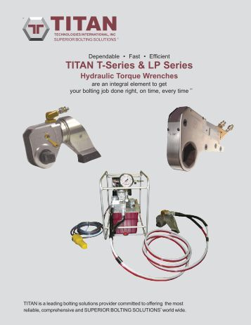 TITAN T-Series & LP Series Hydraulic Torque Wrenches - Oil Service