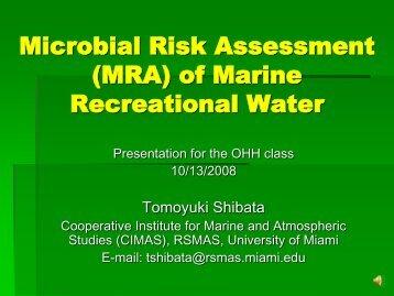 Microbial Risk Assessment (LEF) (Shibata) - University of Miami
