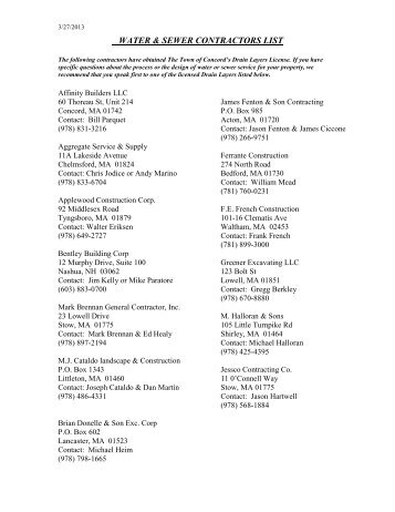 WATER/SEWER CONTRACTORS LIST - Concord, MA