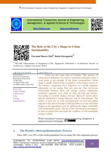 The Role of the City's Shape in Urban Sustainability - International ...