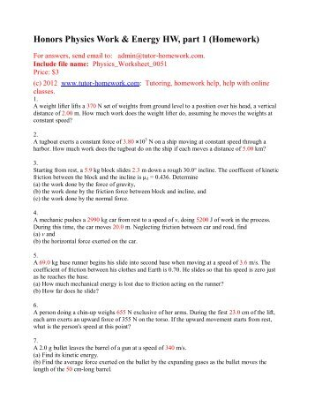 Honors Physics Work & Energy HW, part 1 - Tutor-Homework.com