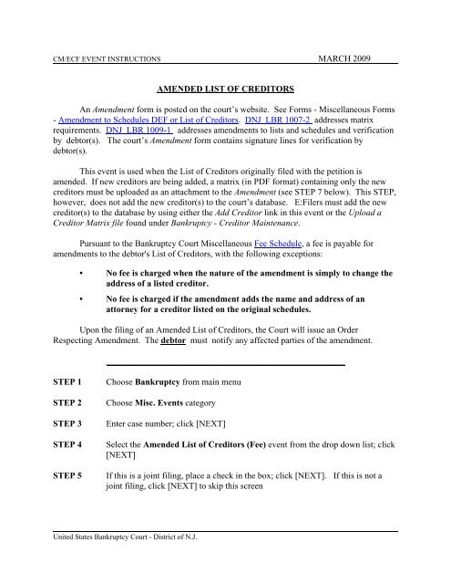 Amended List of Creditors United States Bankruptcy Court