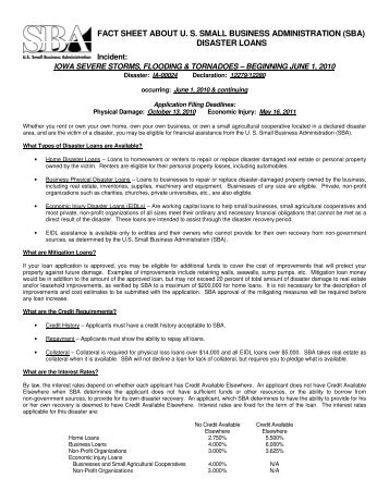 FACT SHEET ABOUT U. S. SMALL BUSINESS ADMINISTRATION ...