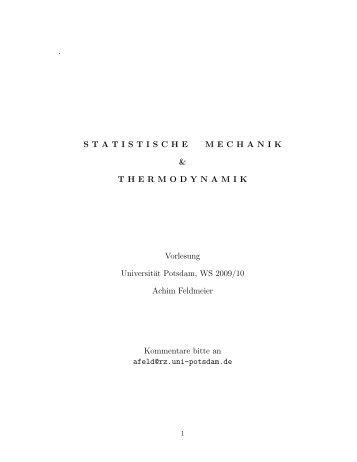 . STATISTISCHE MECHANIK & THERMODYNAMIK Vorlesung ...
