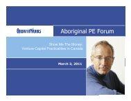 Aboriginal PE Forum - Canadian Council for Aboriginal Business