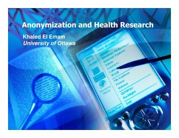 Anonymization and Health Research