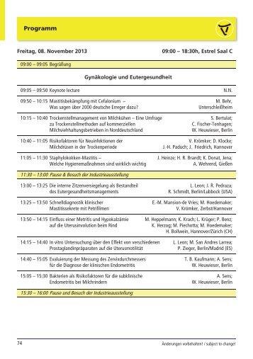 Vorträge, 08. und 09.11.2013 - DVG-Vet-Congress