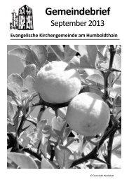 Gemeindebrief September 2013 - Ev. Kirchengemeinde am ...
