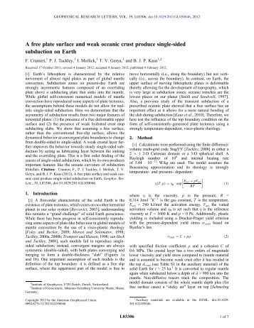 A free plate surface and weak oceanic crust produce single-sided ...