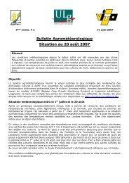 Bulletin Agrométéorologique Situation au 20 août 2007