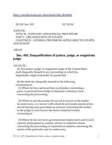 28 U.S.C. §455(a) - Judicial Discipline Reform