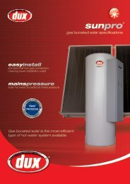 Dux SunPro MP15 continuous boosted solar hot water - Origin Energy