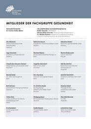 MITGLIEDER DER FACHGRUPPE GESUNDHEIT - Bahr, Volker