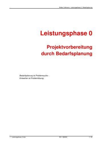 Leistungsphase 0 - Volkmann PM