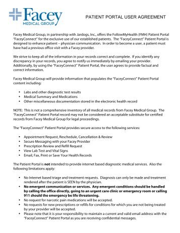 Patient Portal User Agreement - Adult - Facey Medical Group