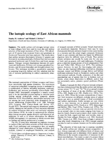The isotopic ecology of East African mammals - The Program in ...
