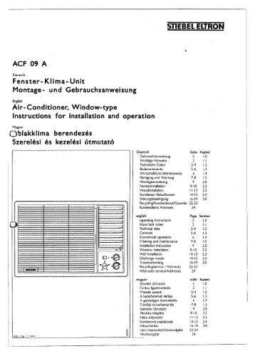 ACF 09 szerelési és kezelési utasítás - Stiebel Eltron