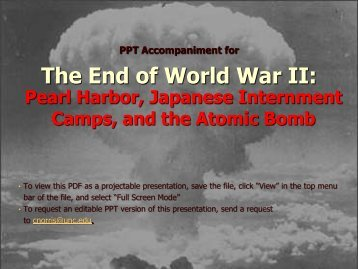 PPT Accompaniment for The End of World War II