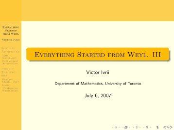 Part III - Victor Ivrii - University of Toronto