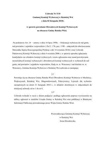 Uchwała Nr 5/10 Gminnej Komisji Wyborczej w ... - Reńska Wieś