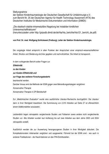 Stellungnahme zum HTA-Bericht über elastisch stabile ...