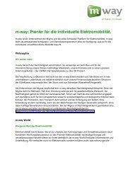 20. Oktober 2010: m-way: Pionier für die individuelle Elektromobilität