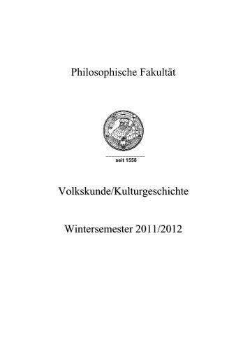 Wintersemester 2011/12 - Institut für Volkskunde und ...